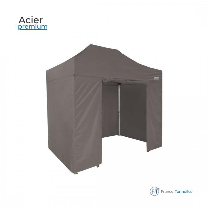 Tonnelle pliante en Acier Premium bâches polyester grises