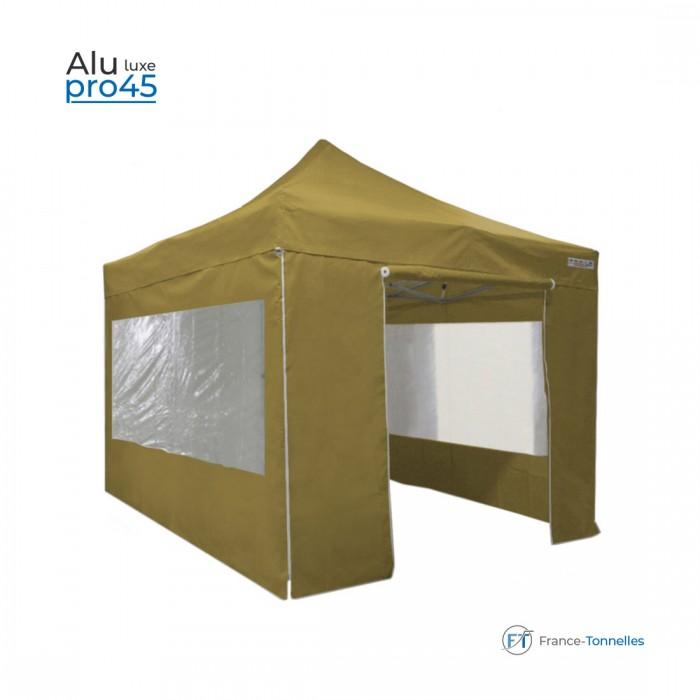 Tente pliante 3x3m Alu Pro 45 avec Fenêtres - Anti-feu M2 - 380gr/m²-Blanc