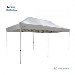 Tente pliable bleue professionnelle 18m² avec une structure en aluminium 55 & bâches 100% étanche en polyester + enduction PVC