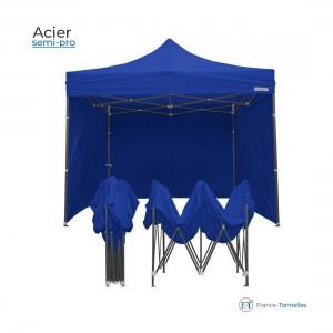 Tente pliable rouge professionnelle 18m² avec une structure en aluminium 55 & bâches 100% étanche en polyester + enduction PVC