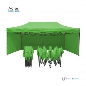 Tente pliante bleue petit prix avec structure aluminium 9m²